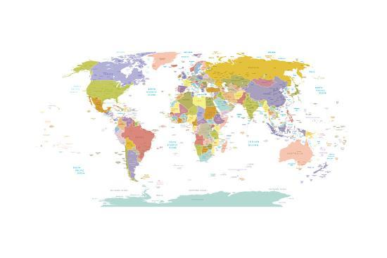 high detail world map all elements are separated in editable layers