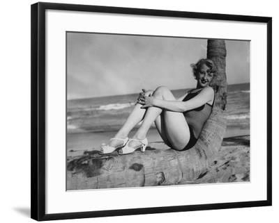High Fashion During the 1940S Included Fishnet Swimsuits--Framed Photographic Print