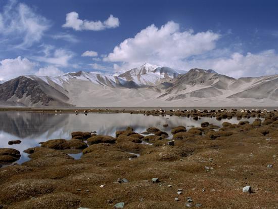 High Mountain Lake and Mountain Peaks, Beside the Karakoram Highway, China-Alison Wright-Photographic Print