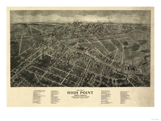 High Point, North Carolina - Panoramic Map-Lantern Press-Art Print