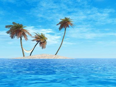 High Resolution Concept Or Conceptual Isolated Exotic Island With Palm Trees And Hammock-bestdesign36-Photographic Print
