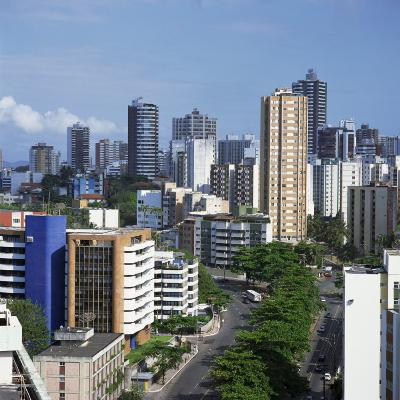 High Rise Buildings on the City Skyline of Salvador in Bahia State in Brazil, South America-Geoff Renner-Photographic Print