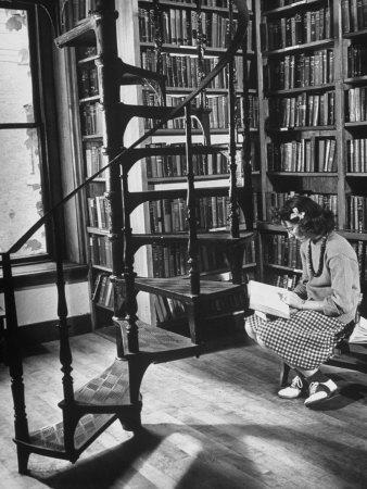 High School Girl Reading at the Newburyport Free Library-Alfred Eisenstaedt-Photographic Print
