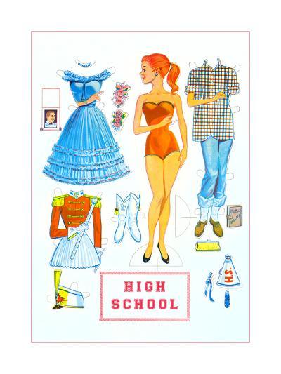 High School Paper Doll--Art Print