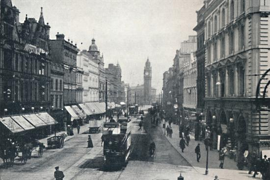 'High Street, Belfast, showing the Albert Memorial in the distance', 1917-Unknown-Photographic Print