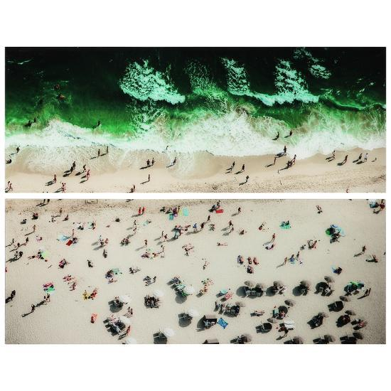 """""""High Tide & Beach Day"""" Frameless Free Floating Tempered Glass Panel Graphic Wall Art--Alternative Wall Decor"""
