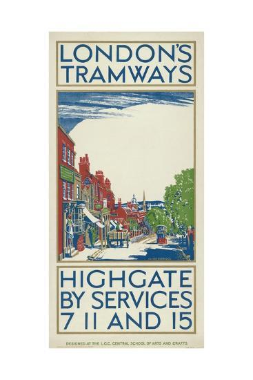 Highgate by Services 7, 11 and 15, London County Council (LC) Tramways Poster, 1924-Oliver Burridge-Giclee Print