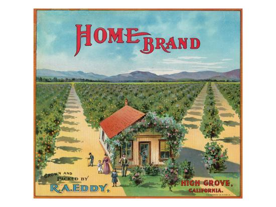 Highgrove, California, Home Brand Citrus Label-Lantern Press-Art Print