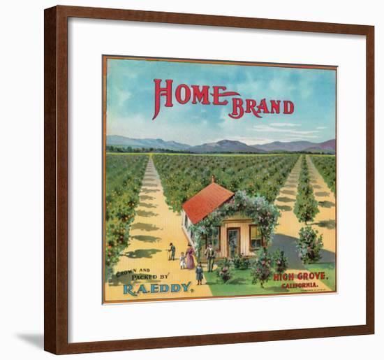 Highgrove, California, Home Brand Citrus Label-Lantern Press-Framed Art Print