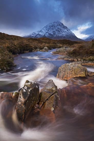 Highland Stream Running Through Rannoch Moor Towards Buachaille Etive Mor Mountain, Scotland-Adam Burton-Photographic Print