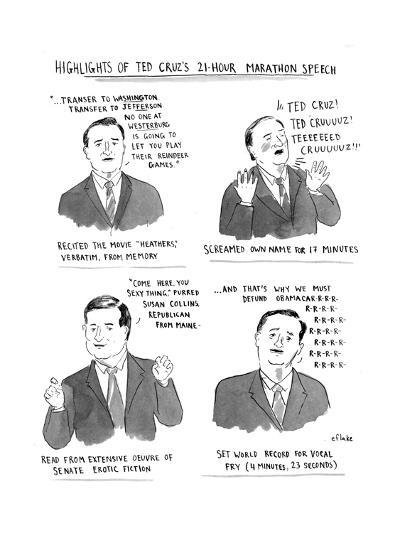 Highlights of Ted Cruz's 21-hour Marathon Speech - Cartoon-Emily Flake-Premium Giclee Print