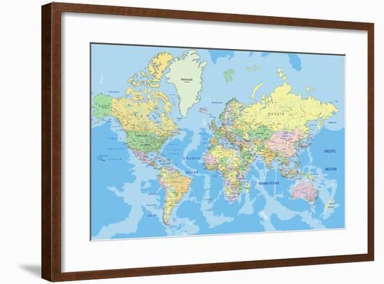 Highly Detailed Political World Map with Labeling.Vector Illustration.-Bardocz Peter-Framed Art Print