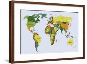 Highly Detailed Political World Map with Labeling. Vector Illustration.-Bardocz Peter-Framed Art Print