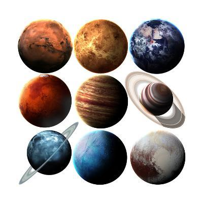 Hight Quality Isolated Solar System Planets. Elements of this Image Furnished by NASA-Vadimsadovski-Art Print