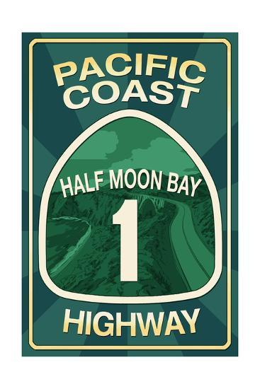 Highway 1, California - Half Moon Bay - Pacific Coast Highway Sign-Lantern Press-Art Print