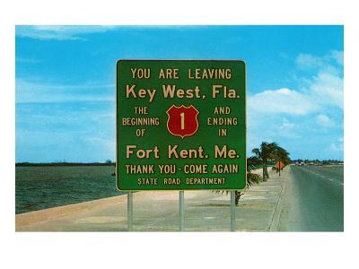 Highway 1, Key West, Florida--Art Print
