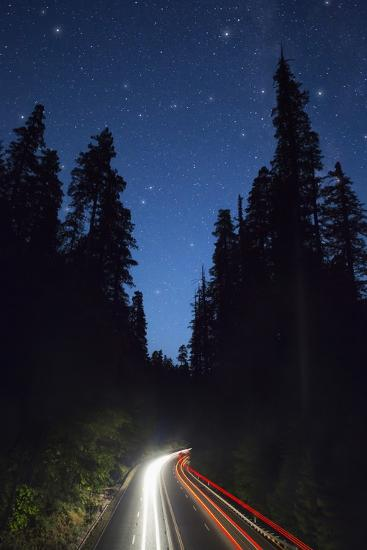 Highway 101 and the Avenue of the Giants at Night.-Jon Hicks-Photographic Print