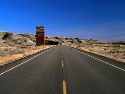 Highway and Abandoned Grain Elevator in Ghost Town of Dorothy, Alberta, Canada-Barnett Ross-Photographic Print