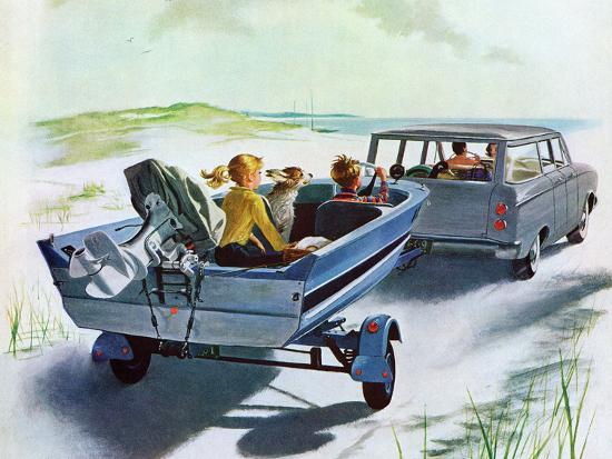 """Highway Boatride,"" July 14, 1962-George Hughes-Giclee Print"