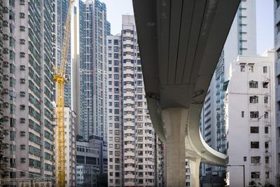 Highway Overpass and Apartment Towers, Hong Kong, China-Paul Souders-Photographic Print