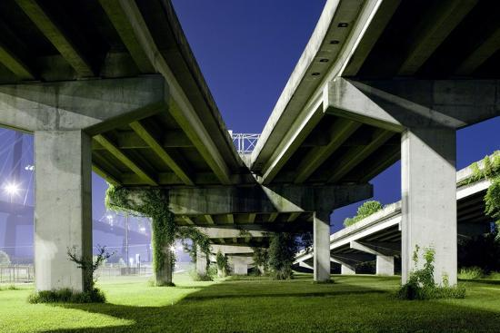 Highway Overpass at Night-Paul Souders-Photographic Print