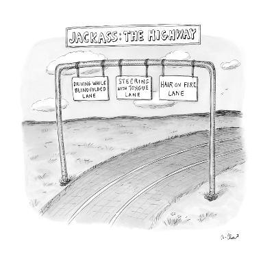 """Highway with exit options: """"driving while blidfolded lane,"""" """"steering with?"""" - New Yorker Cartoon-Roz Chast-Premium Giclee Print"""