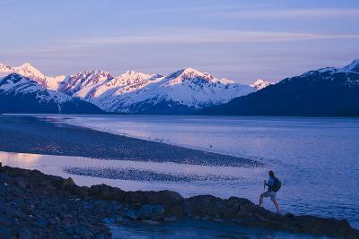 Hiker at Dusk on Ridge Overlooking Turnagain Arm with Sun Setting on Chugach Mountains-Design Pics Inc-Photographic Print