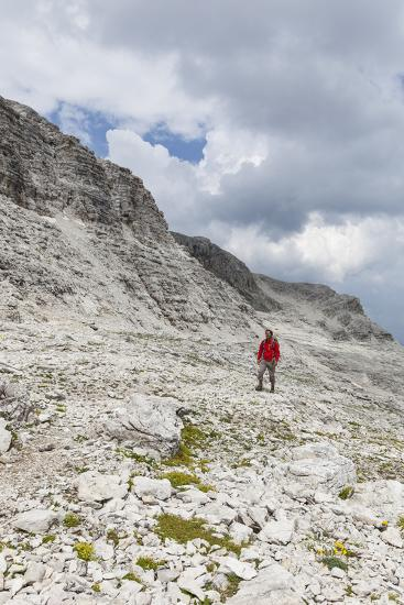 Hiker in the Way to the Summit of the Piz BoŽ, the Dolomites, South Tyrol, Italy, Europe-Gerhard Wild-Photographic Print