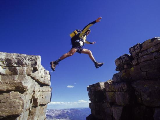 Hiker Jumping, High Uintas, UT-Cheyenne Rouse-Photographic Print