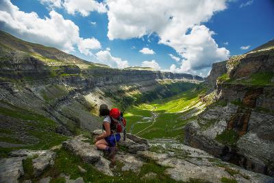 Hiker on Mountain - Ordesa Y Monte Perdido, Pyrenees, Spain-EvanTravels-Photographic Print