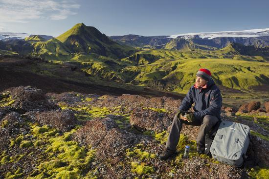 Hiker Resting, Laugarvegur, Fjallabak, South Iceland, Iceland-Rainer Mirau-Photographic Print