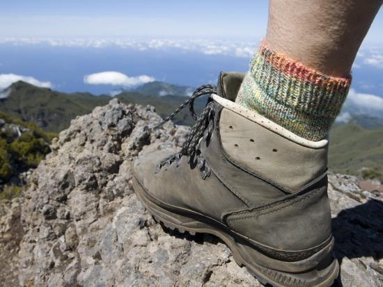 Hiker's Boot on Summit of Pico Ruivo Mountain-Holger Leue-Photographic Print