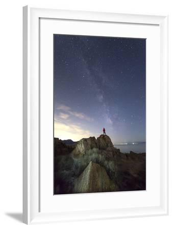 Hiker Standing Under Stars And Looking Up At Milky Way, Buffalo Point At Antelope Island SP, Utah-Austin Cronnelly-Framed Photographic Print