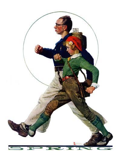 """""""Hikers"""", May 5,1928-Norman Rockwell-Giclee Print"""