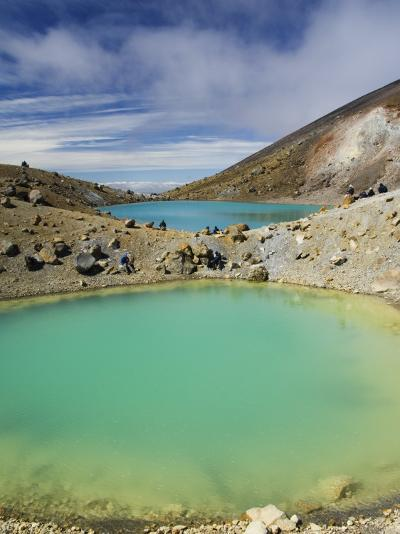 Hikers Near Emerald Lakes on the Tongariro Crossing, Tongariro National Park, New Zealand-Kober Christian-Photographic Print