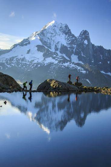 Hikers on the Shores of Lac De Cheserys, French Alps-Roberto Moiola-Photographic Print
