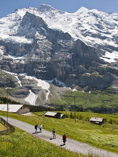 Hiking Below the Jungfrau Massif From Kleine Scheidegg, Jungfrau Region, Switzerland, Europe-Michael DeFreitas-Photographic Print