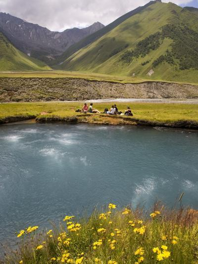 Hiking Group Resting Beside Mineral Spring in Truso Valley-Mark Daffey-Photographic Print