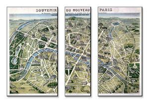 """Map of Paris During the Period of the """"Grands Travaux"""" by Baron Georges Haussmann 1864 by Hilaire Guesnu"""