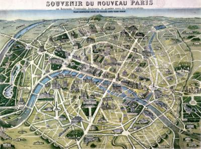 "Map of Paris During the Period of the ""Grands Travaux"" by Baron Georges Haussmann 1864 by Hilaire Guesnu"
