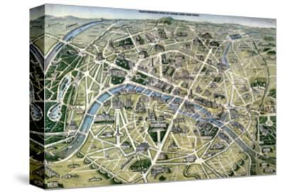 "Map of Paris During the Period of the ""Grands Travaux"" by Baron Georges Haussmann 1864"