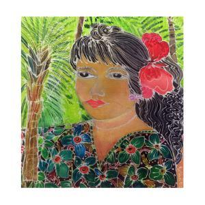Lady with Hibiscus by Hilary Simon
