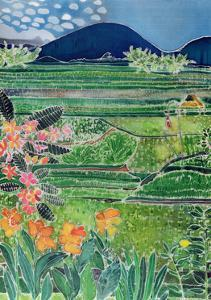 Lovina Ricefields with Lilies and Frangipani, Bali, 1996 by Hilary Simon