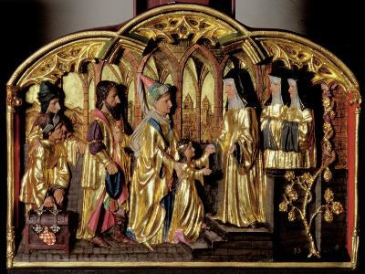 Hildegard Altarpiece Depicting the Arrival of Saint Hildegard of Bingen (1098-1179) with Her…-German School-Giclee Print