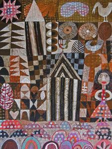 Woman and 2 Huts by Hilke Macintyre