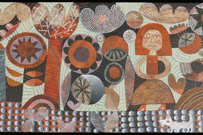 Woman in Orange Garden