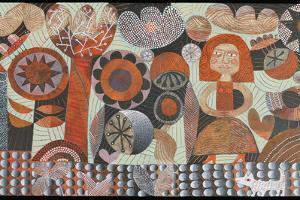 Woman in Orange Garden by Hilke Macintyre