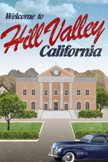 Hill Valley California Retro Travel--Art Print