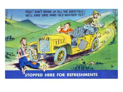 Hillbillies Stopping for Refreshments, Paw's Drinking Antifreeze-Lantern Press-Art Print