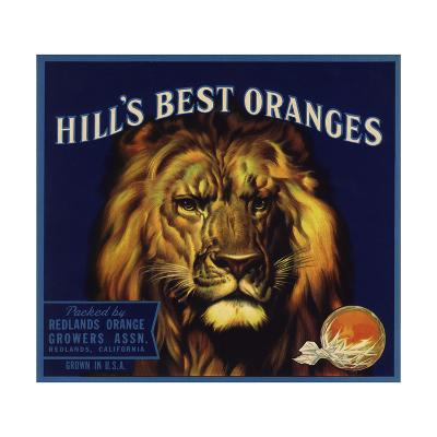 Hills Best Brand - Redlands, California - Citrus Crate Label-Lantern Press-Art Print